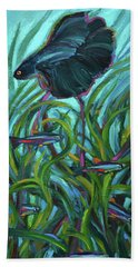 Bath Towel featuring the painting Persistent Fish Betta  by Robert Phelps
