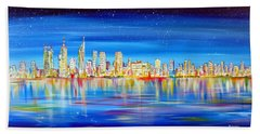 Perth Skyline On The Swan Hand Towel