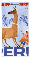 Peru Vintage Travel Poster Restored Hand Towel