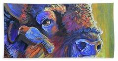 Pesky Cowbird Bath Towel by Jenn Cunningham