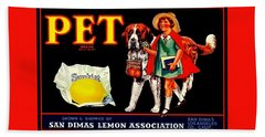 Pet Saint Bernard 1920s California Sunkist Lemons Hand Towel by Peter Gumaer Ogden