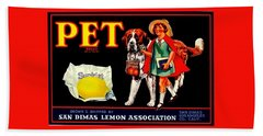 Pet Saint Bernard 1920s California Sunkist Lemons Bath Towel
