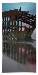 Peter Iredale Shipwreck At Sunrise Hand Towel