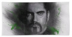 Bath Towel featuring the drawing Peter Steele, Type O Negative by Julia Art