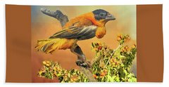 Bath Towel featuring the photograph Petit Oiseau Dans Plaqueminier Or Small Bird In Persimmons  by Janette Boyd
