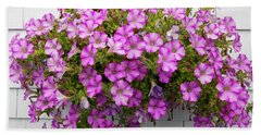Bath Towel featuring the photograph Petunias On White Wall by Elena Elisseeva