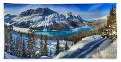 Peyto Lake Winter Panorama Hand Towel by Adam Jewell