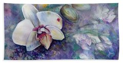 Hand Towel featuring the painting Phalaenopsis Orchid With Hyacinth Background by Ryn Shell