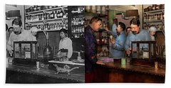 Hand Towel featuring the photograph Pharmacy - The Dispensing Chemist 1918 - Side By Side by Mike Savad