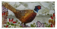 Pheasant And Snowy Hillside Hand Towel