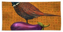 Bath Towel featuring the painting Pheasant On An Eggplant by Leah Saulnier The Painting Maniac