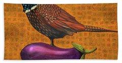 Pheasant On An Eggplant Bath Towel