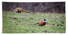 Hand Towel featuring the photograph Pheasant Pair by Steven Santamour