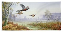 Pheasants In Flight  Hand Towel by Carl Donner