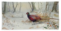 Pheasants In Snow Hand Towel by Carl Donner