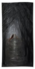 Hand Towel featuring the painting Pheasants In The Garden by Tone Aanderaa