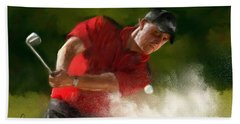 Phil Mickelson - Lefty In Action Bath Towel by Colleen Taylor