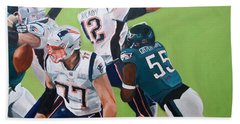 Philadelphia Eagles Strip-sack Of Tom Brady In Super Bowl Lii  Bath Towel