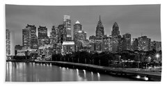 Philadelphia Philly Skyline At Dusk From Near South Bw Black And White Panorama Hand Towel