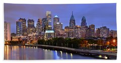 Philadelphia Philly Skyline At Dusk From Near South Color Panorama Hand Towel