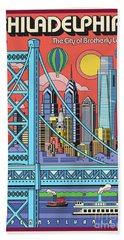 Philadelphia Pop Art Travel Poster Hand Towel