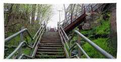 Hand Towel featuring the photograph Philadelphia - Roxborough Avenue Steps by Bill Cannon