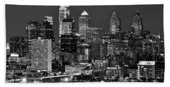 Philadelphia Skyline At Night Black And White Bw  Hand Towel