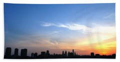 Philadelphia Skyline Low Horizon Sunset Bath Towel