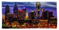 Bath Towel featuring the photograph Philadelphia Skyline by Nick Zelinsky