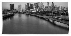 Philadelphia Skyline Pastels Bw Hand Towel by Susan Candelario