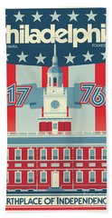 Philadelphia Vintage Travel Poster Bath Towel