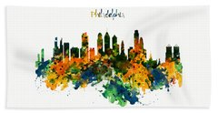 Philadelphia Watercolor Skyline Bath Towel