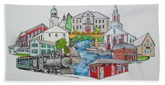 Phillips, Maine Collage Hand Towel