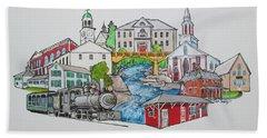 Phillips, Maine Collage Bath Towel