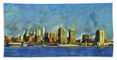 Bath Towel featuring the mixed media Philly Skyline by Trish Tritz