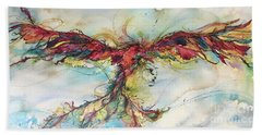 Hand Towel featuring the painting Phoenix Rainbow by Christy Freeman