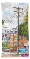 Phole Pole In Hawthorn And Fuller, Hollywood, California Hand Towel