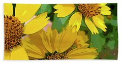 Yellow Wildflowers Photograph II Bath Towel