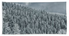Bath Towel featuring the photograph Winter Pines by Lou Novick