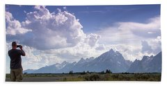 Hand Towel featuring the photograph Photographing The Tetons by Dawn Romine