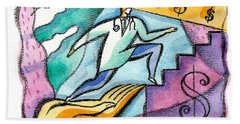 Bath Towel featuring the painting Physician And Money by Leon Zernitsky