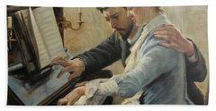 Piano Lesson Bath Towel by Albert Edelfelt