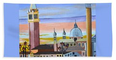 Bath Towel featuring the painting Piazza San Marco by Donna Blossom