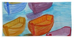 Hand Towel featuring the painting Pick Your Boat by Barbara McDevitt