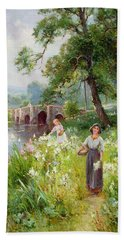 Picking Flowers By The River Bath Towel