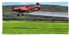 Bath Towel featuring the photograph Picking It Up And Putting It Down - Crop Duster - Arkansas Razorbacks by Jason Politte