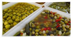 Bath Towel featuring the photograph Pickled Olives And Others by Tina M Wenger