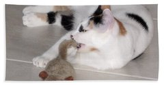 Bath Towel featuring the photograph Pico And Toy Mouse by Phyllis Kaltenbach