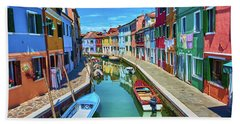 Picturesque Buildings And Boats In Burano Hand Towel