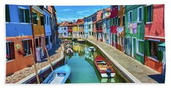 Picturesque Buildings And Boats In Burano Bath Towel